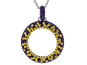 Pre-Owned Preciosa Crystal Purple And Gold Circle Pendant With Chain