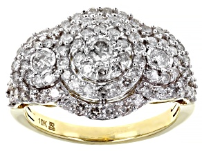 Pre-Owned White Diamond 10k Yellow Gold Cluster Ring 1.50ctw