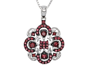 Pre-Owned Raspberry Color Rhodolite Silver Pendant With Chain .81ctw.