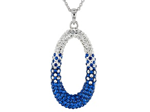 Pre-Owned Preciosa Crystal Blue And White Oval Pendant With Chain