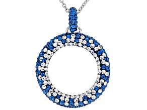Pre-Owned Crystal Blue And White Circle Pendant With Chain
