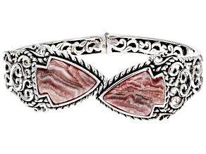 Pre-Owned Rhodochrosite Rhodium Over Silver Cuff Bracelet