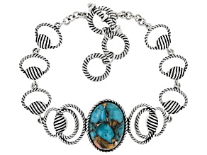 Pre-Owned Blended Turquoise and Spiny Oyster Shell Rhodium Over Silver Bracelet 20x14mm