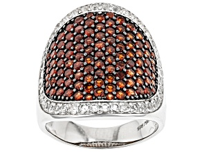 Pre-Owned Red Garnet Rhodium Over Sterling Silver Ring. 3.97ctw