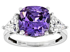 Pre-Owned Purple And White Cubic Zirconia Platinum Over Sterling Silver Ring 9.50ctw