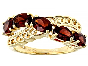 Pre-Owned Red Garnet 18K Yellow Gold Over Sterling Silver Ring 2.55ctw