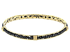 Pre-Owned Black Spinel 18K Yellow Gold Over Sterling Silver Bracelet