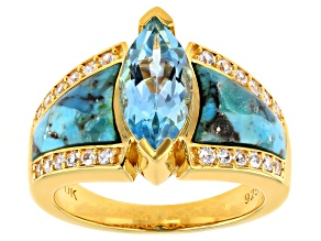 Pre-Owned Blue Topaz  18k Yellow Gold Over Sterling Silver Ring 2.01ctw