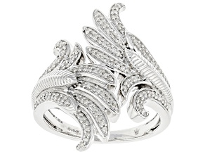 Pre-Owned White Diamond Rhodium Over Sterling Silver Angel Wing Bypass Ring 0.25ctw