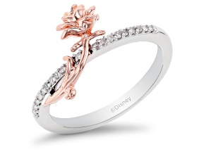 Pre-Owned Enchanted Disney Belle Ring White Diamond Rhodium and 14k Rose Gold Over Silver 0.10ctw