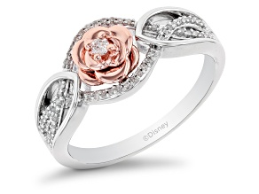 Pre-Owned Enchanted Disney Belle Ring White Diamond Rhodium & 14k Rose Gold Over Silver 0.10ctw