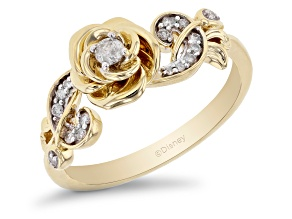 Pre-Owned Enchanted Disney Floral Belle Ring Round White Diamond 10k Yellow Gold 0.15ctw