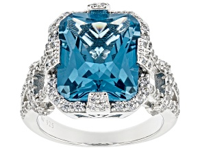 Pre-Owned Lab Blue Spinel And White Cubic Zirconia Rhodium Over Sterling Silver Ring 9.69ctw
