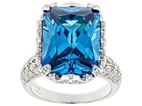 Pre-Owned Blue And White Cubic Zirconia Rhodium Over Sterling Silver Ring 19.05ctw