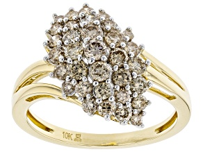Pre-Owned Candlelight Diamonds™ 10k Yellow Gold Cluster Ring 1.00ctw