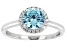 Pre-Owned Light Blue And White Cubic Zirconia Rhodium Over Sterling Silver Ring 2.29ctw