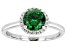 Pre-Owned Green And White Cubic Zirconia Rhodium Over Sterling Silver Ring 2.22ctw