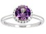 Pre-Owned Synthetic Color Change Sapphire And White Cubic Zirconia Rhodium Over Sterling Silver Ring