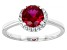 Pre-Owned Lab Created Ruby And White Cubic Zirconia Rhodium Over Sterling Silver Ring 1.80ctw