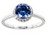 Pre-Owned Blue And White Cubic Zirconia Rhodium Over Sterling Silver Ring 2.40ctw