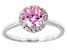 Pre-Owned Pink And White Cubic Zirconia Rhodium Over Sterling Silver Ring 2.59ctw