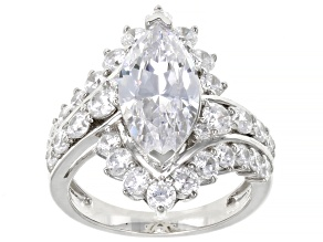 Pre-Owned White Cubic Zirconia Platinum Over Sterling Silver Ring 7.18ctw (3.93ctw DEW)