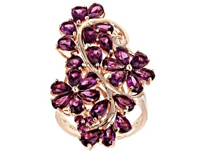 Pre-Owned Raspberry Color Rhodolite 18k Rose Gold Over Silver Ring 5.88ctw