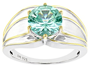Pre-Owned Green Lab Created Spinel Rhodium & 18k Gold Over Silver Two-Tone Ring 3.51ct
