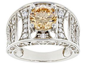 Pre-Owned Champagne And White Cubic Zirconia Rhodium Over Sterling Silver Ring 4.69ctw