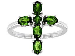 Pre-Owned Green Chrome Diopside Rhodium Over Sterling Silver Cross Ring 1.22ctw