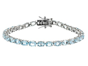 Pre-Owned Blue Topaz Rhodium Over Silver Tennis Bracelet 12.67ctw