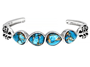 Pre-Owned Turquoise Rhodium Over Sterling Silver Cuff Bracelet