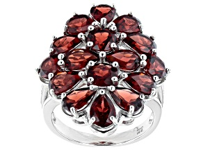 Pre-Owned Red Garnet Rhodium Over Sterling Silver Ring  7.62ctw