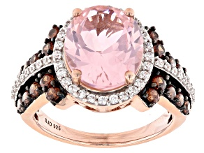 Pre-Owned Pink Morganite Simulant And Mocha And White Cubic Zirconia 18k Rose Gold Over Sterling Sil