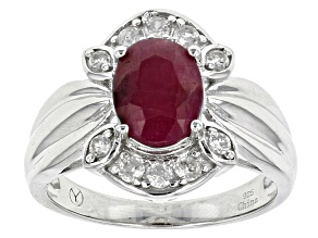 Pre-Owned Red india Ruby Sterling Silver Ring 2.40ctw