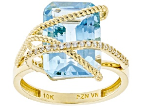 Pre-Owned Sky Blue Topaz 10k Yellow Gold Ring 7.75ctw