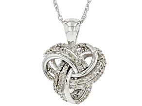 Pre-Owned White Diamond Rhodium Over Sterling Silver Cluster Pendant With Chain 0.45ctw