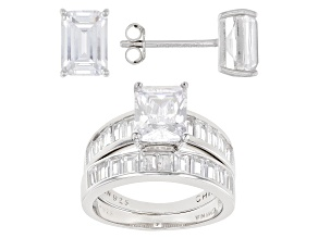 Pre-Owned White Cubic Zirconia Rhodium Over Sterling Silver Ring With Band And Earrings 8.68ctw
