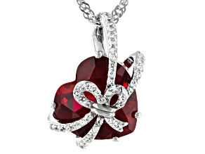 Pre-Owned Red Lab Created Ruby Rhodium Over Sterling Silver Heart Slide With Chain 6.17ctw