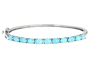 Pre-Owned Blue Sleeping Beauty Turquoise Rhodium Over Sterling Silver Bangle Bracelet