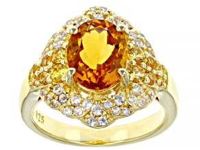 Pre-Owned Yellow Citrine 18k Yellow Gold Over Sterling Silver Ring 2.75ctw