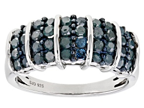 Pre-Owned Blue Diamond Rhodium Over Sterling Silver Wide Band Ring 1.20ctw