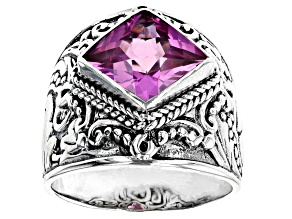 Pre-Owned Lab Created Dark Rose Sapphire Silver Ring 5.36ct