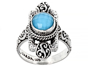 Pre-Owned Sleeping Beauty Turquoise Quartz Doublet Silver Ring