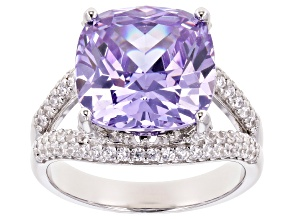 Pre-Owned Purple and White Cubic Zirconia Rhodium Over Sterling Silver Ring 14.99ctw