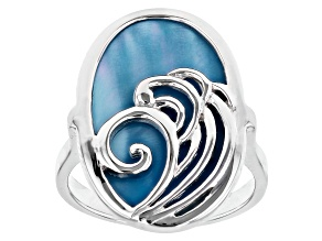 Pre-Owned Blue South Sea Mother-of-Pearl Rhodium Over Sterling Silver Ring
