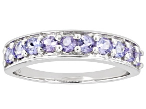 Pre-Owned Blue Tanzanite Rhodium Over Sterling Silver Ring. 0.68ctw