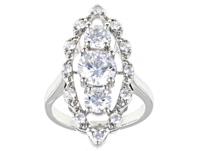 Pre-Owned White Cubic Zirconia Rhodium Over Sterling Silver Ring 4.73ctw (2.56ctw DEW)