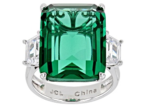 Pre-Owned Silver Tone Green And White Cubic Zirconia Emerald Cut Ring 32.80CTW