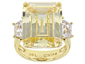 Pre-Owned Yellow And White Cubic Zirconia Gold Tone Emerald Cut Ring 32.80ctw